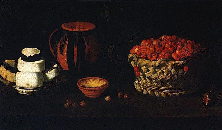 Pintura de Josefa d'Óbidos, Cesta com Cerejas, Queijos e Barros (c. 1670-1680)