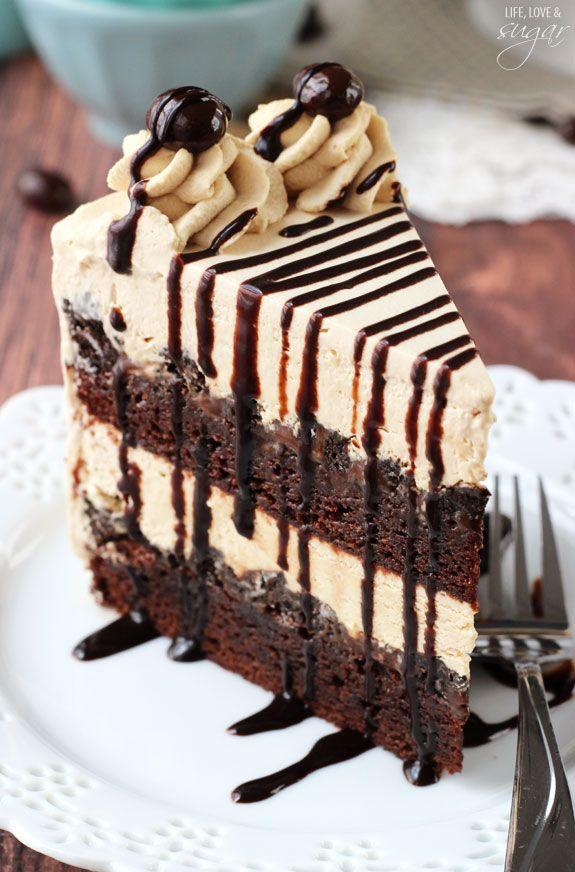 Mocha Brownie Ice Cream Cake - layers of coffee ice cream, brownies, Oreo crumbles and hot fudge!