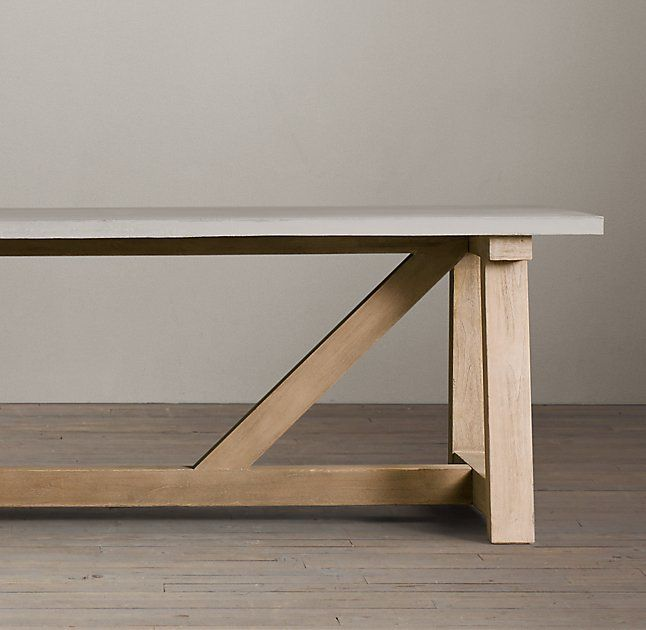 Salvaged Wood U0026 Weathered Concrete Beam Rectangular Dining Table