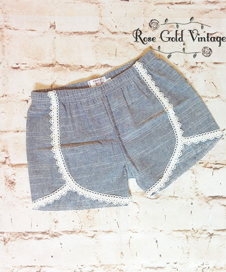 These adorable shorts match everything! They are made of lightweight chambray, with adorable crochet trim. Elastic waist. Available in sizes 6 months through Girls size 8!