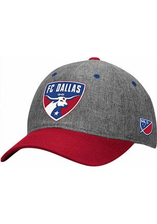 Adidas FC Dallas Mens Grey Authentic Team Slouch Adjustable Hat