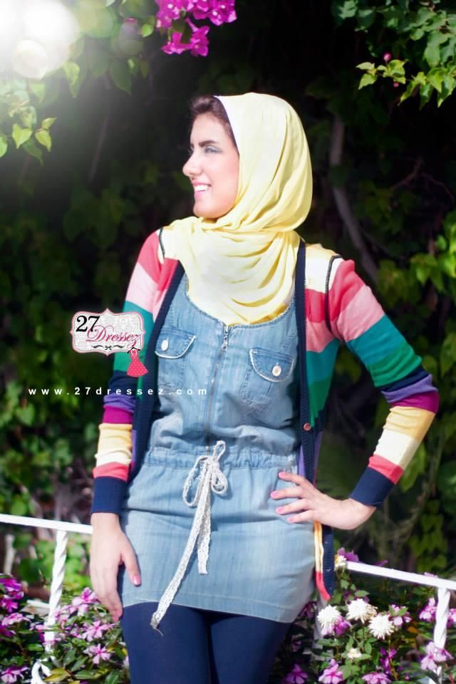 denim short dress Hijab casual outfits by 27dressesz http://www.justtrendygirls.com/hijab-casual-outfits-by-27dressesz/