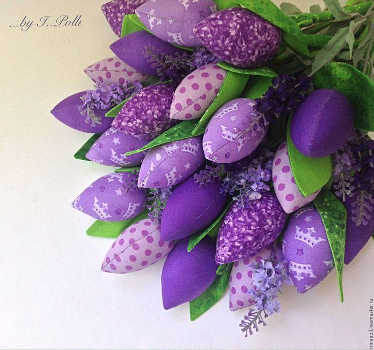 Купить Роскошный сиреневый букет тюльпанов - тюльпаны, тюльпаны из ткани, тюльпаны тильда, букет тюльпанов
