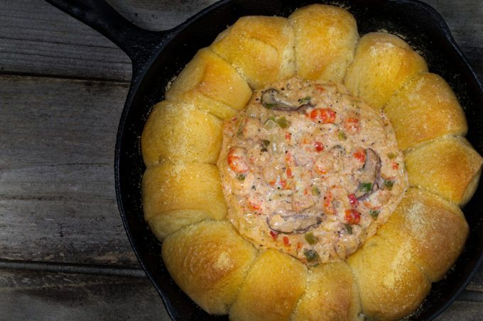 Crawfish Dip in French Bread.  Hot rolls and creamy dip--a tasty combination. (All photos credit: George Graham)