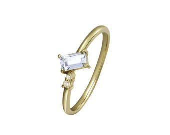 Sólido 18 k oro V forma rosa turmalina anillo de color de