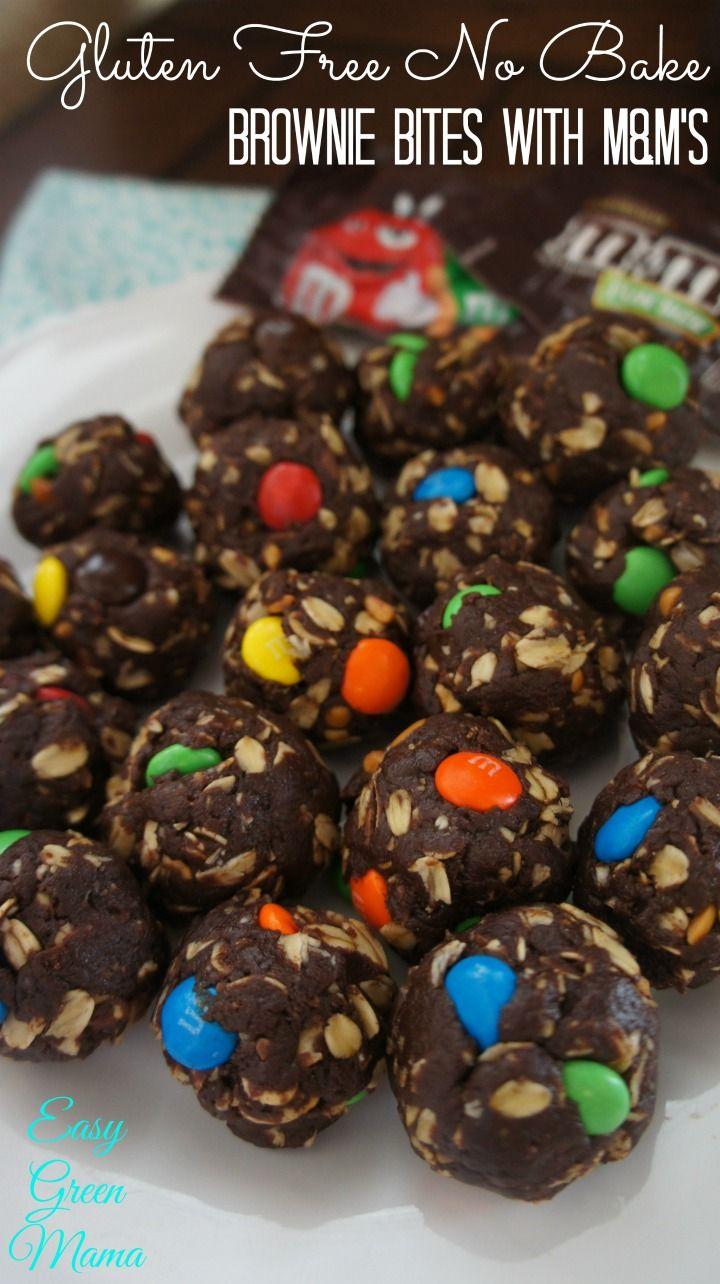 Gluten Free No Bake Brownie Bites with M&M's.