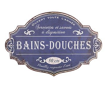Plaque décorative BAINS DOUCHES, bleu et blanc - 51*34