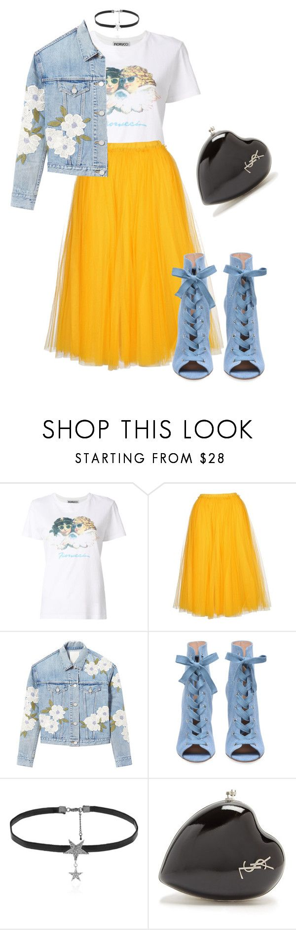 """""""Untitled #189"""" by acarine-rios on Polyvore featuring Fiorucci, N°21, Rebecca Taylor, Love Rocks and Yves Saint Laurent"""