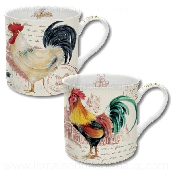 2 mugs en porcelaine decor coq chicken tableware. Black Bedroom Furniture Sets. Home Design Ideas