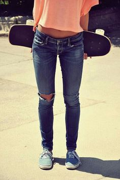 Jeans and long boarding