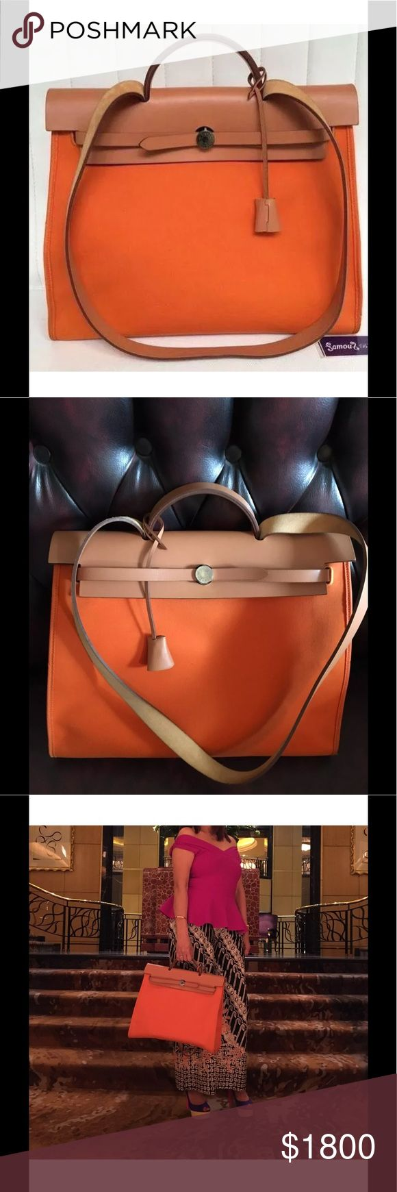 Hermes Herbag Orange Size 39 Stamp N Beautiful Hermes Herbag in excellent condition only worn 4 or 5 times. Interior & exterior is excellent. This bag you can carry it as a sling bag, shoulder bag, or hand carry it. Come with Hermes dust bag, padlock, & Pochete.                    Sorry no Trade. Hermes Bags Shoulder Bags