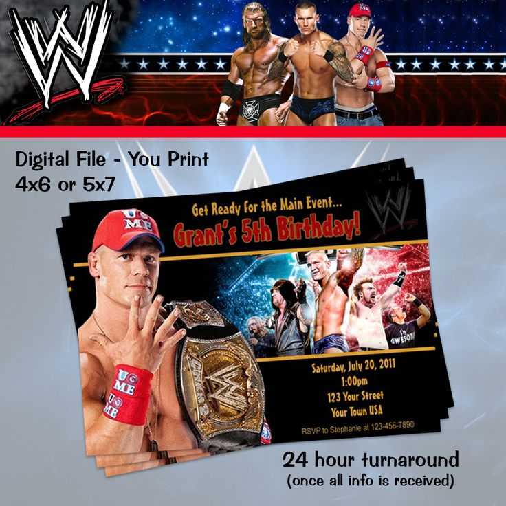 BLACK FRIDAY 15% Off WWE Cena Wrestling  Invitation - You Print by TotheTCreations on Etsy