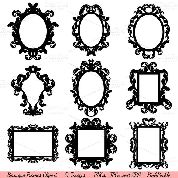 Baroque Frames Vectors and Clipart ~~ *Please click on image for full preview*    Our Baroque Frames Clipart includes 1 Illustrator EPS(8) vector file, 9 PNG files with transparent backgrounds and 9 JPG files with white backgrounds.    The PNGs and JPGs are approximately 10 inches wide at their wi…