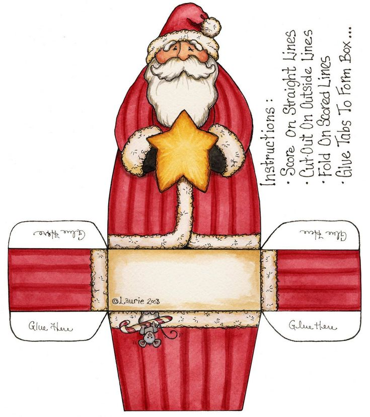 Ideas Manualidades Navidad recorta y arma tu arbolito navideño de forma fácil para bajar armar recortar  colorear ~ ¸.•♥•.¸¸ Santa box & instructions¸.•♥•.¸¸