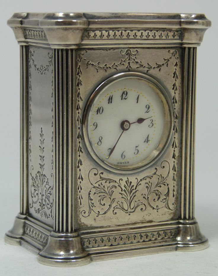 Antique Sterling Silver Miniature Clock