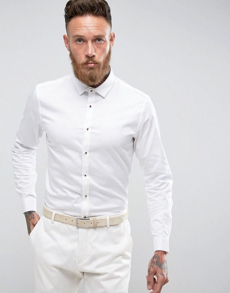 Slim Shirt In Mini Grid Print With Contrast Buttons And China Collar - White/black mini che Selected Hot Sale Cheap Price For Nice Cheap Online Low Shipping Fee Cheap Online Clearance Online Outlet Footlocker Finishline H49acae