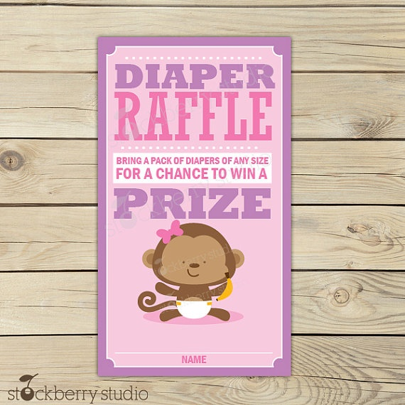 Monkey Pink and Purple Baby Shower Diaper