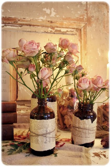 Love the use of old medicine bottles as decor items.