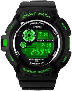 So Voir S-SHOCK Multi Fonction Montre à quartz Résistant à l'eau Sport Montre électronique numérique à LED Vert, Homme, vert