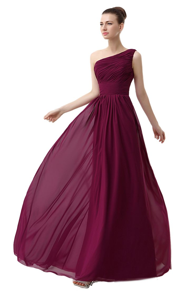 Sheath/Column One Shoulder Sleeveless Floor-length Grape Chffion Prom Dress LF12804