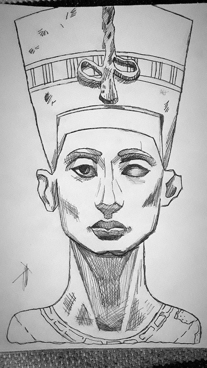 Dibujo De Nefertiti A Lápiz Nefertiti Dibujo Lapiz Amano Egipto Tutankamón Joche Antiguo Egipto Dibujo Tutankamón Dibujos