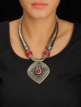 Silver-Red Tribal Necklace