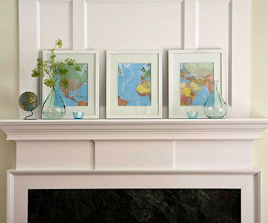 Repetition Works: Decor, Ideas, Framed Maps, Craft, Frames, Art, Living Room, Mantle