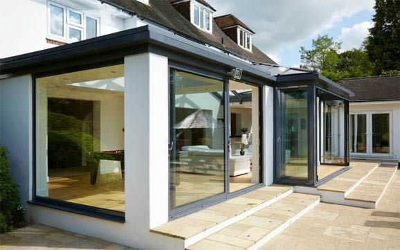 Steps down from orangery bespoke orangeries and sunrooms for Orangery ideas uk