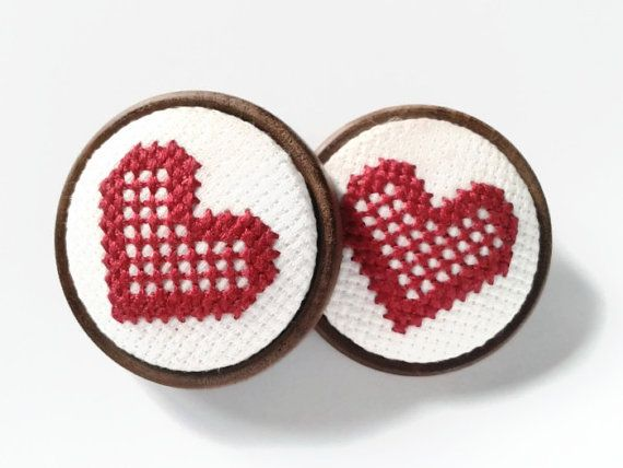 Valentine's Day Heart Brooch, Nordic Cross Stitched Heart, Backed With A Wooden Base Handmade by GorgeousCraftsUK