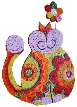 Mosaico Gato, Teselas, mosaicos, teselas de espejo, mosaico de vidrio, tienda regalos, manualidades tiffany