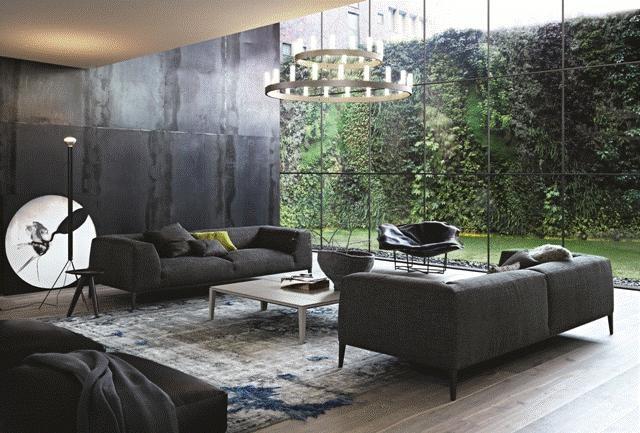 POLIFORM: Metropolitan sofa with pouf in leather, Ipsilon stool, Brasilia coffee table and Wallace armchair