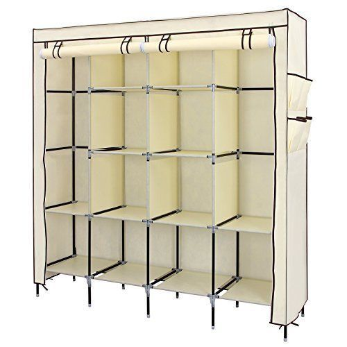 "NEW Clothes Closet 67"" Portable Wardrobe Storage Rack Shelves Side Pockets Beige #ClothesCloset"