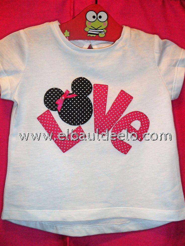 www.elbauldeelo.com aplicacion camiseta patchwork Love Minnie Mouse
