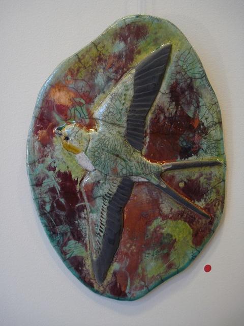Raku pottery by Wildfire Pottery - Swallow in flight