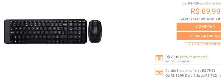 Combo Mouse e Teclado Wireless Logitech MK220 << R$ 7919 >>