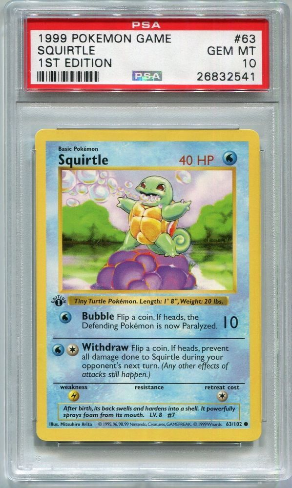 Pokemon Card 1st Edition Shadowless Squirtle Base Set 63 102 Psa