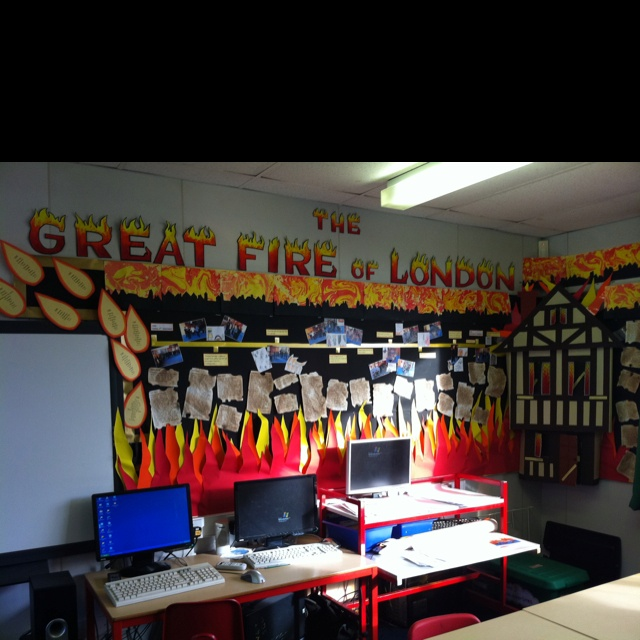 Great fire of London display - time line with kids photos of them acting out each event, diary entries, marbling skylines, 3D house with questions/answers in the door and windows, fire poems, Year 1/2. (by Sally Maddison)