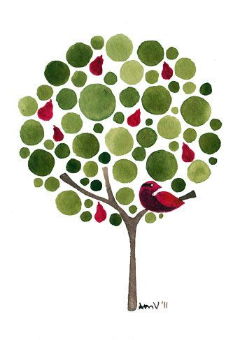 watercolour jellybean tree