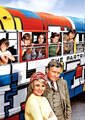 The Partridge Family: The Partridge Family was an American television sitcom about a widowed mother and her five children, that lived in a small fictional town in Northern California.  The series originally ran from September 25, 1970 until August 31, 1974 on the ABC television network, as part of the Friday night lineup with The Brady Bunch.