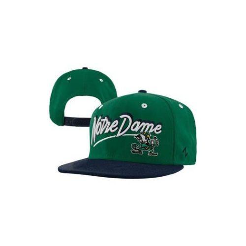 Zephyr-Notre-Dame-Fighting-Irish-Shadow-Script-Snapback-Hat-Green-Navy-NWT