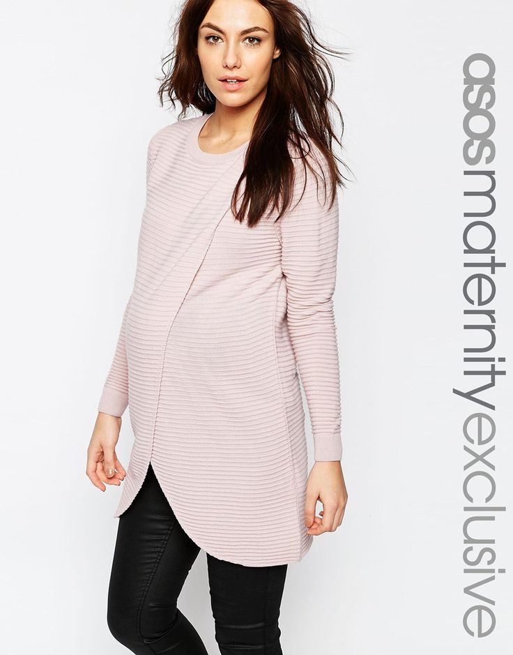 Image 1 of ASOS Maternity NURSING Wrap Over Jumper In Textured Stripe With 3/4 Sleeve