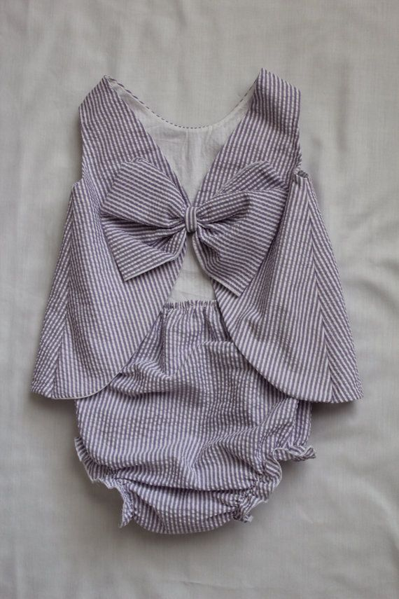 lilac and white seersucker baby girl outfit