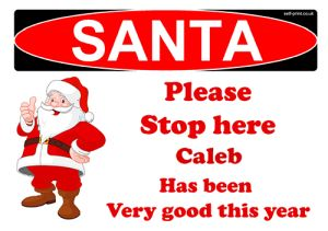 free personalised santa stop here sign boys name