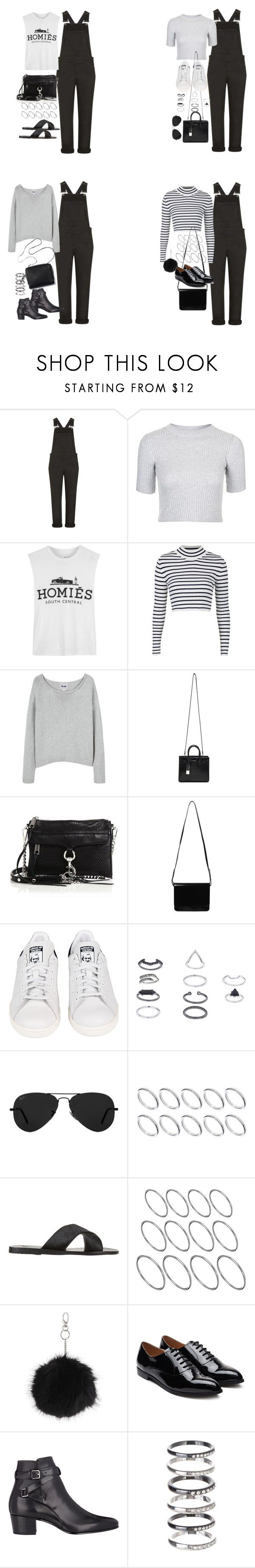 """""""outfits with black dungarees"""" by marym96 ❤ liked on Polyvore featuring Topshop, Brian Lichtenberg, Acne Studios, Yves Saint Laurent, Rebecca Minkoff, Monki, adidas, Ray-Ban, ASOS and Ancient Greek Sandals"""