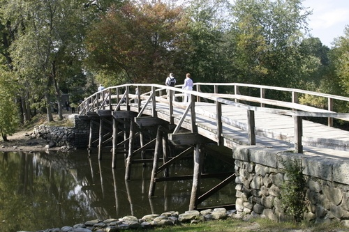 Old North Bridge Battleground where American Minutemen stopped the British advance in on the first day of battle of the American Revolution, Concord, MA.