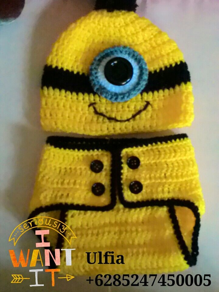 Crochet baby minion hat and diapers