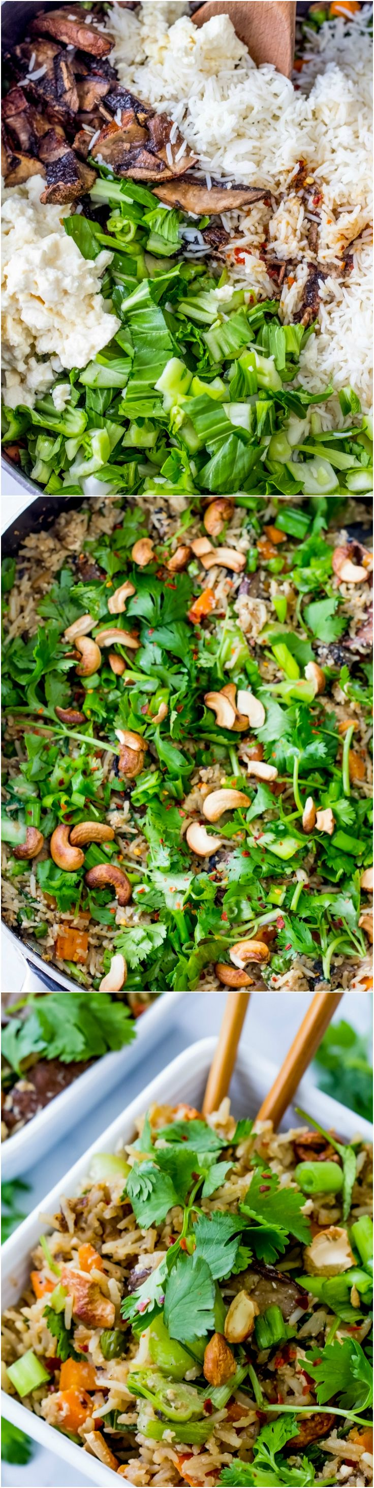 #Vegan Fried Rice made with roasted cashews, portobello mushroom steaks, tofu, and lots of veggies.