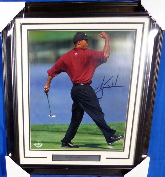 Tiger Woods Autographed Framed 16x20 Photo Fist Pump UDA #BAK35714