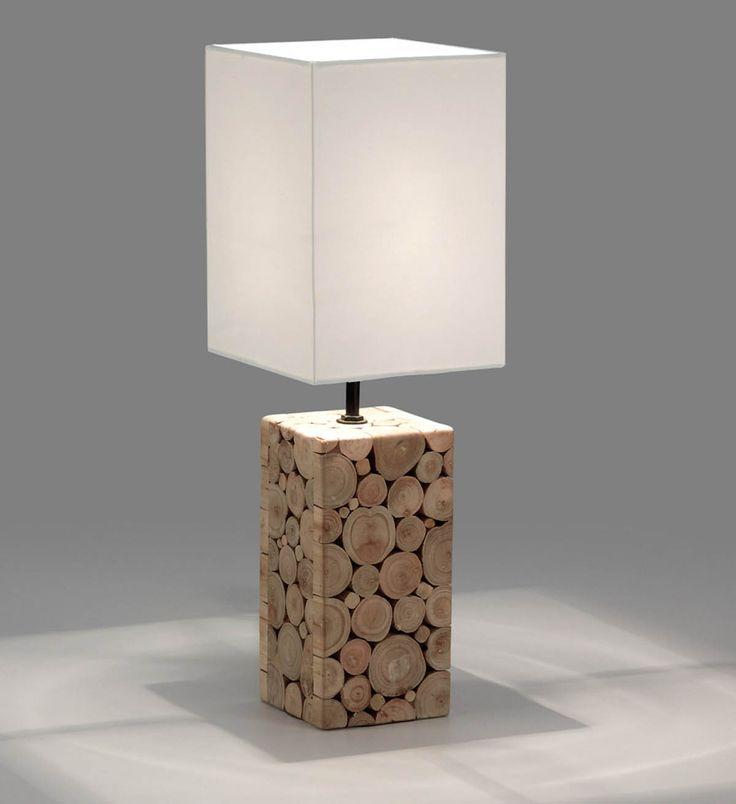Lámparas de sobremesa de madera NAVILS. Iluminación etnica.