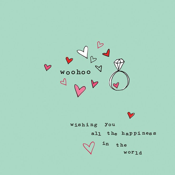 Woohoo Wishing You All The Happiness In The World Engagement Wishes With Ring And Little Hearts Greeting Card